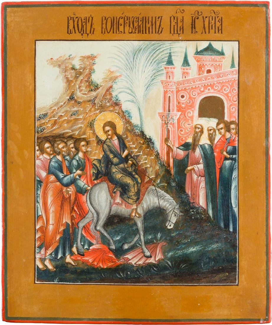 AN ICON SHOWING THE ENTRY INTO JERUSALEM Russian, circa