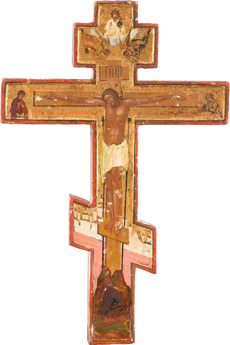 A WOODEN CRUCIFIX Russian, 19th century Tempera on