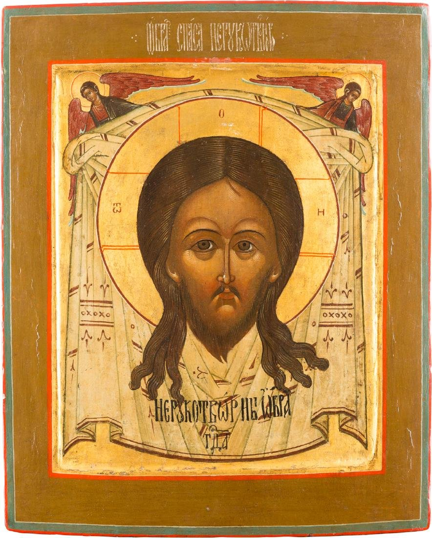 A LARGE ICON SHOWING THE MANDYLION Russian, 19th