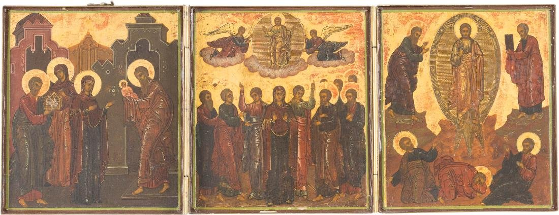 A FINE TRIPTYCH SHOWING THE PRESENTATION OF CHRIST TO