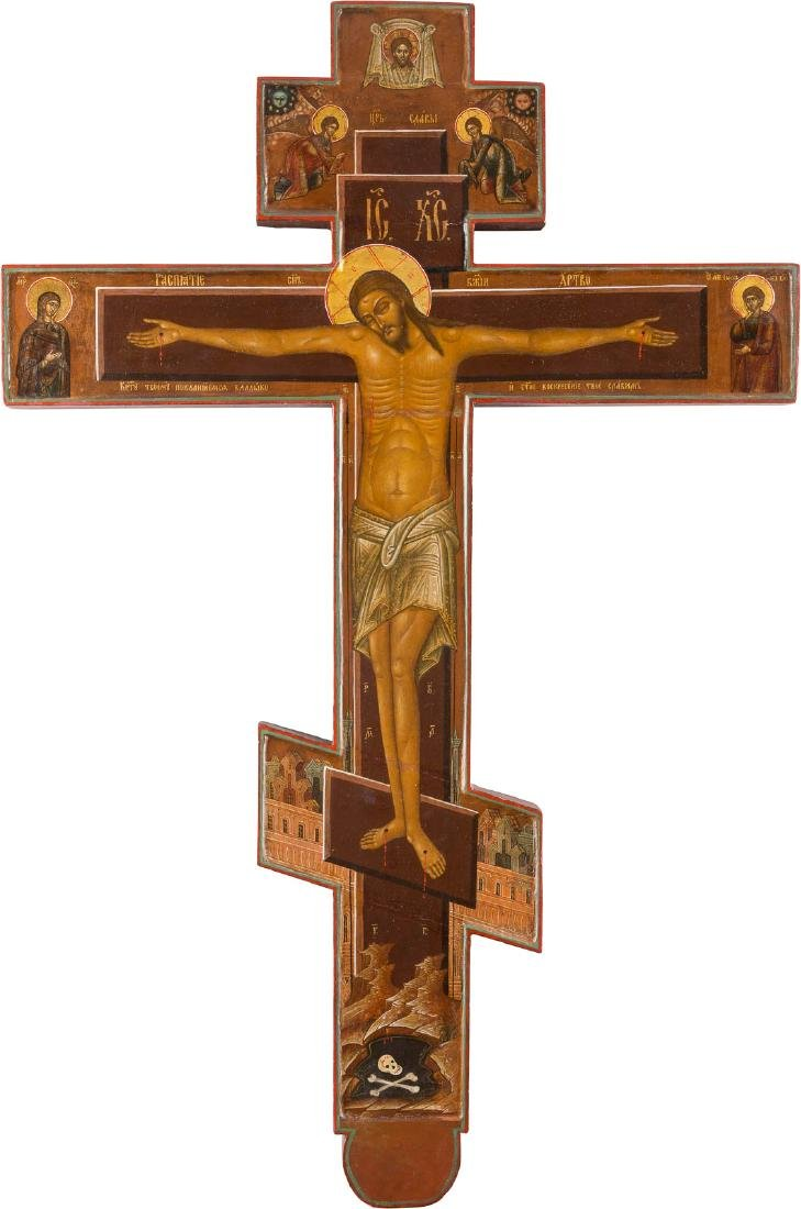 A MONUMENTAL DOUBLE-SIDED WOOD CRUCIFIX FROM A CHURCH