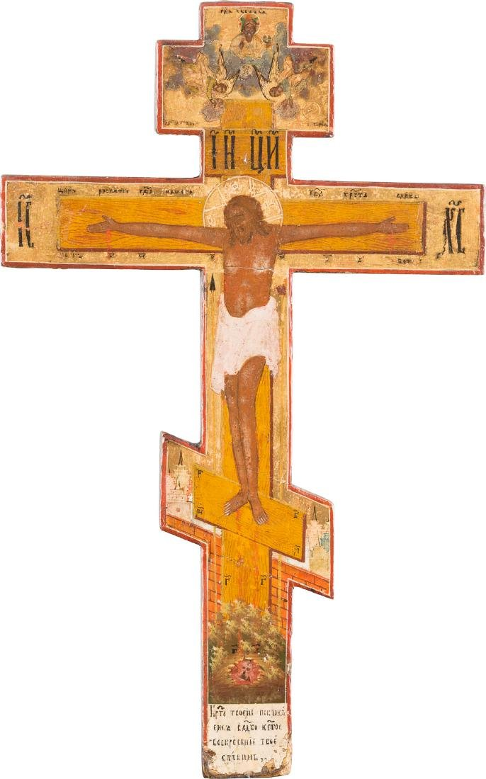 A WOODEN CRUCIFIX Russian, early 19th century Tempera