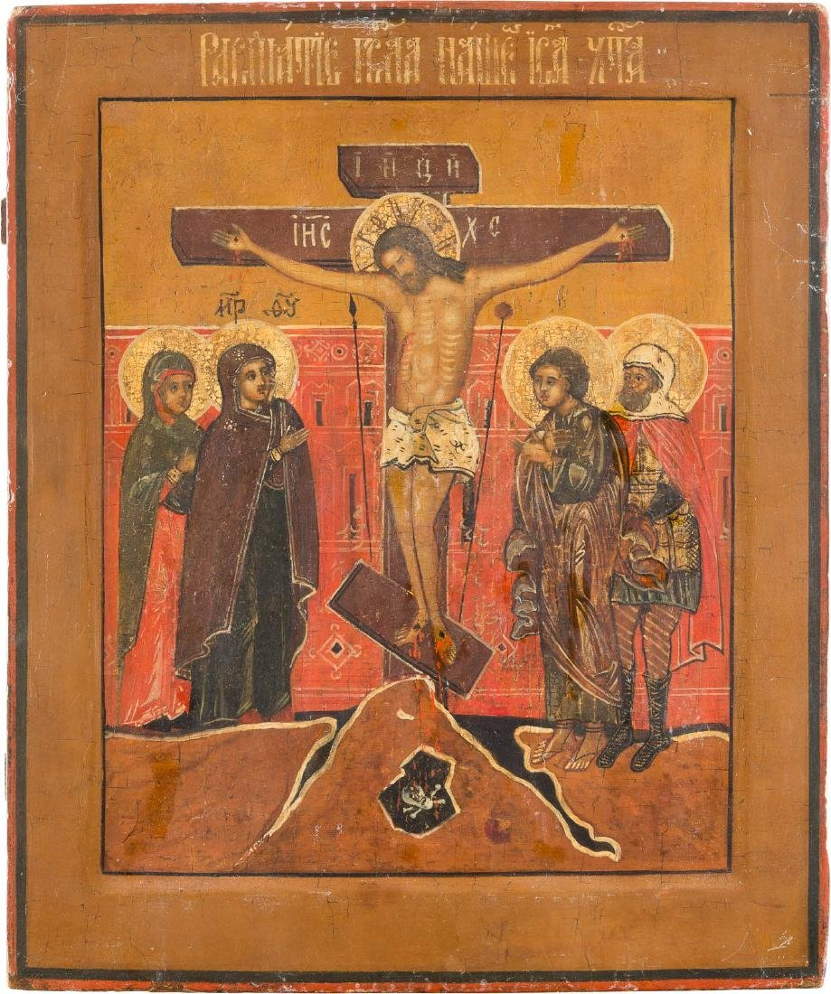 A LARGE ICON SHOWING THE CRUCIFIXION Russian, 17th