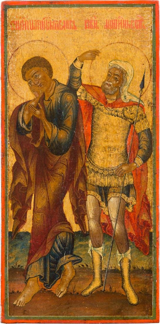 A SMALL ICON SHOWING ST. JOHN AND ST. LONGINUS Russian,