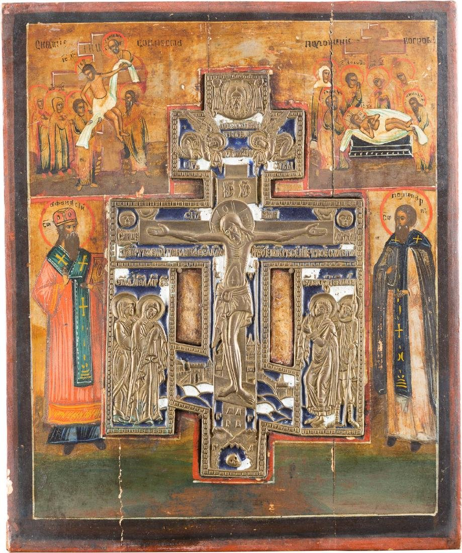 A STAUROTHEK ICON SHOWING THE CRUCIFIXION Russian, 19th