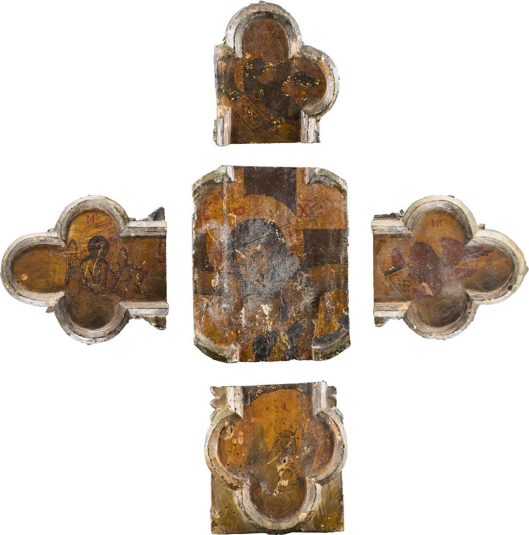 FIVE FRAGMENTS OF A CRUCIFIX SHOWING CHRIST AND THE