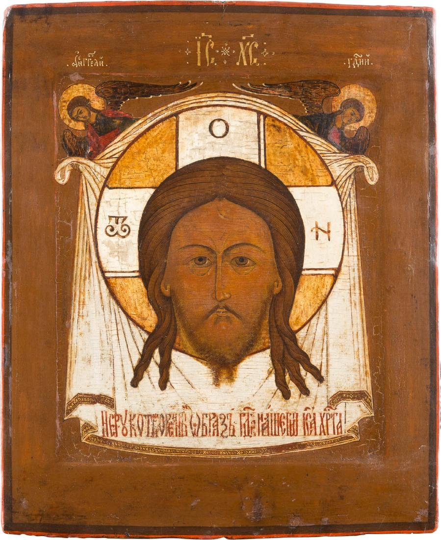 AN ICON SHOWING THE MANDYLION Russian, 17th century