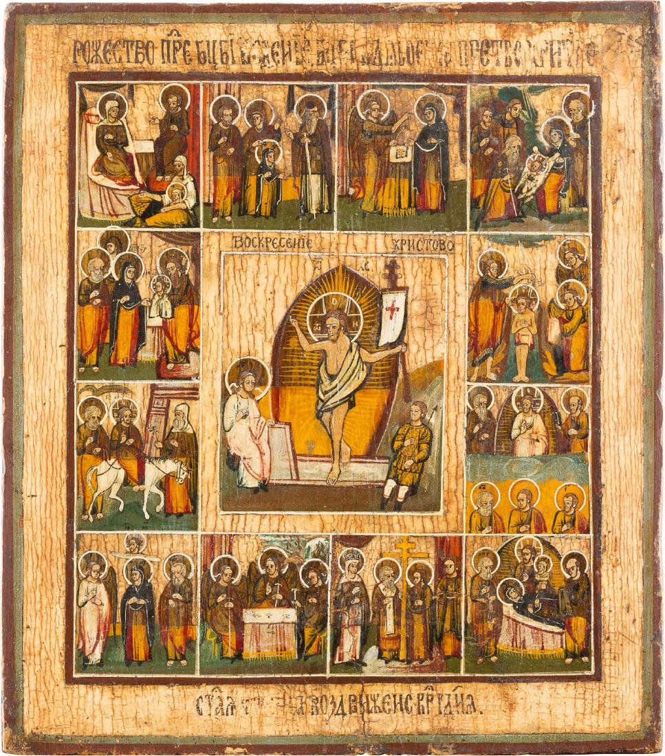 A FEAST DAY ICON Russian, 19th century Tempera on wood