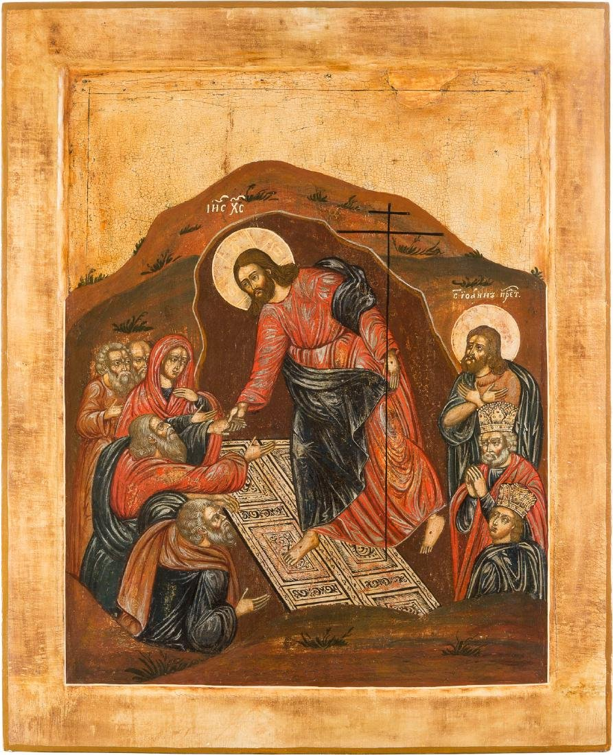 A LARGE ICON SHOWING THE DESCENT INTO HELL AND THE