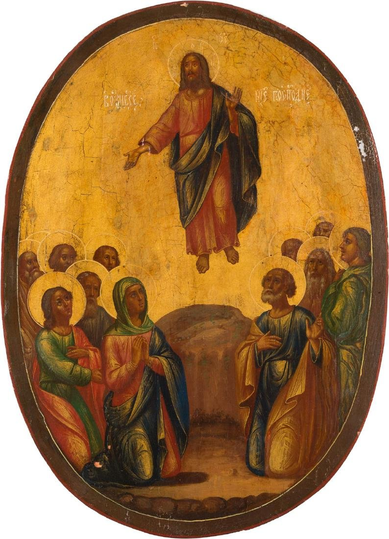 A LARGE ICON SHOWING THE ASCENSION OF CHRIST Russian,
