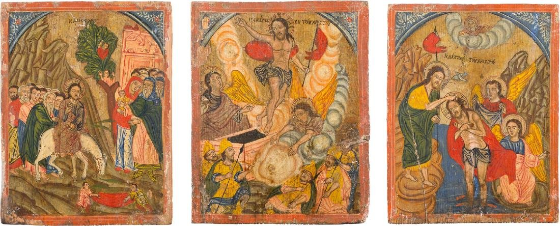 THREE ICONS FROM AN ICONOSTASIS SHOWING THE BAPTISM OF