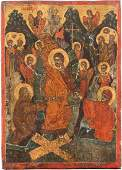AN ICON SHOWING THE DESCENT INTO HELL Greek, 17th