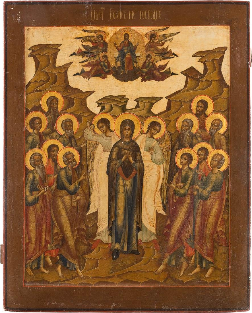 A MONUMENTAL ICON SHOWING THE ASCENSION Russian, circa
