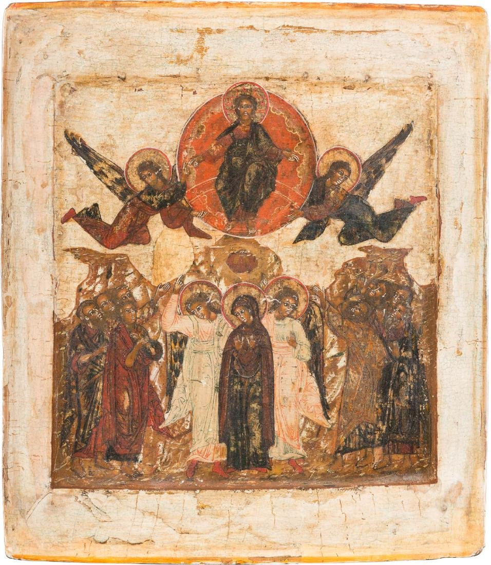 AN ICON SHOWING THE ASCENSION OF CHRIST Russian, 17th