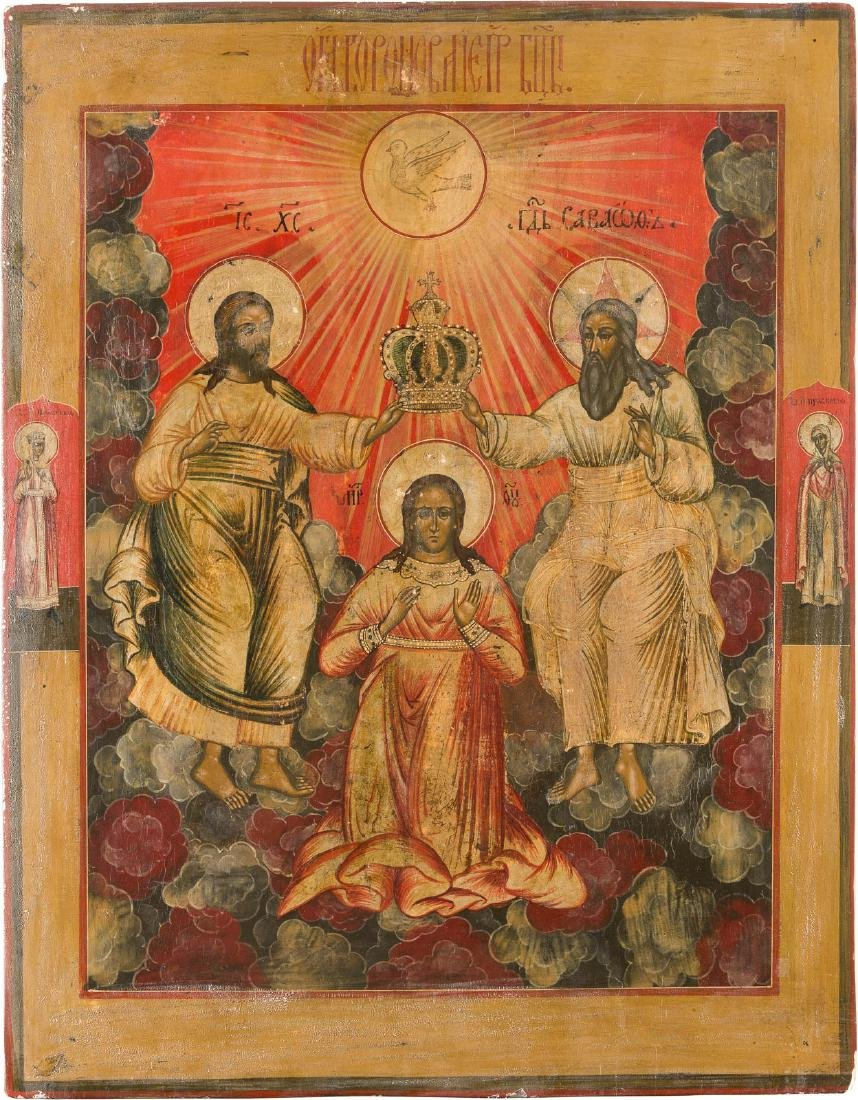 A MONUMENTAL ICON SHOWING THE CORONATION OF THE MOTHER