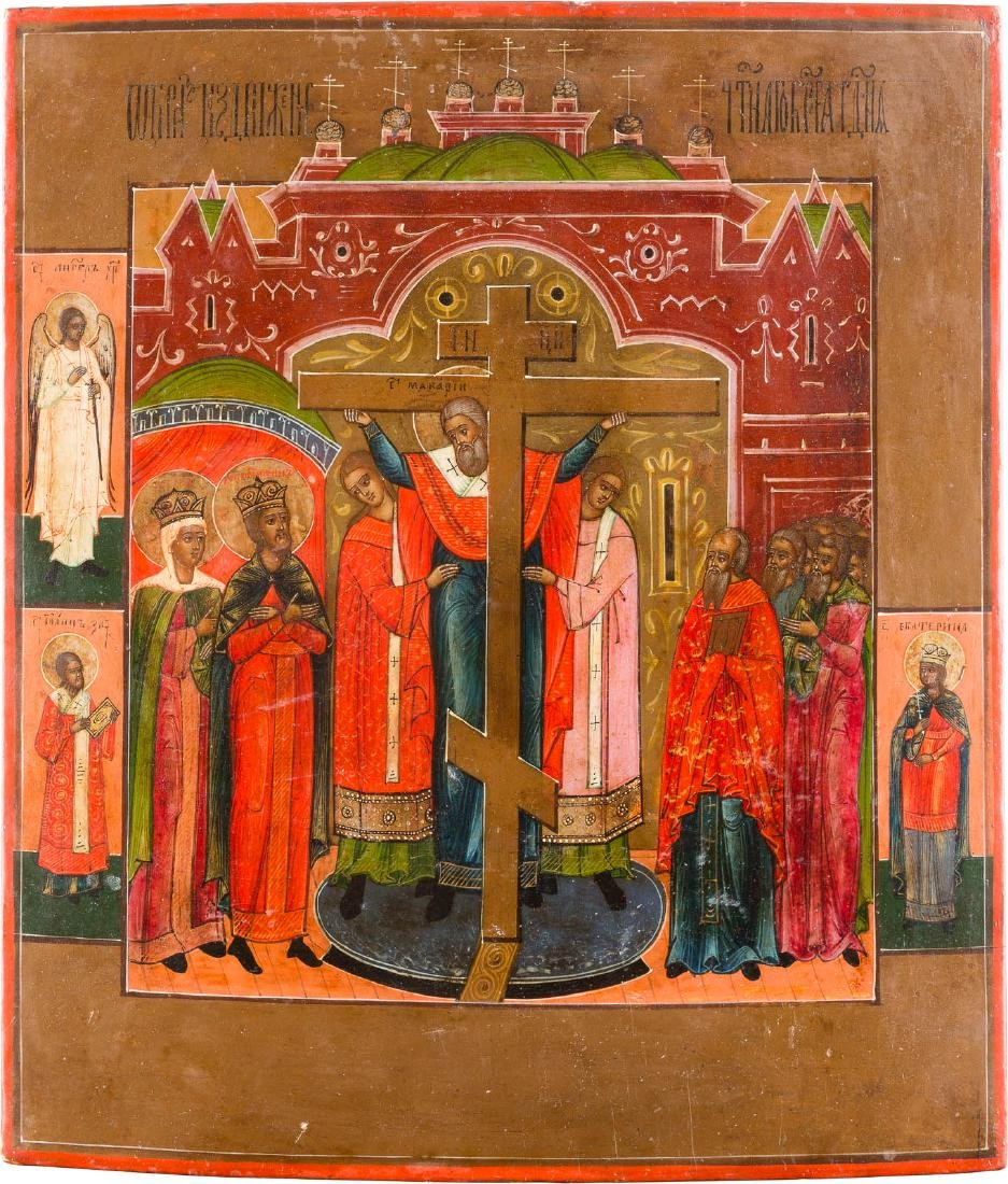 AN ICON SHOWING THE EXALTATION OF THE TRUE CROSS