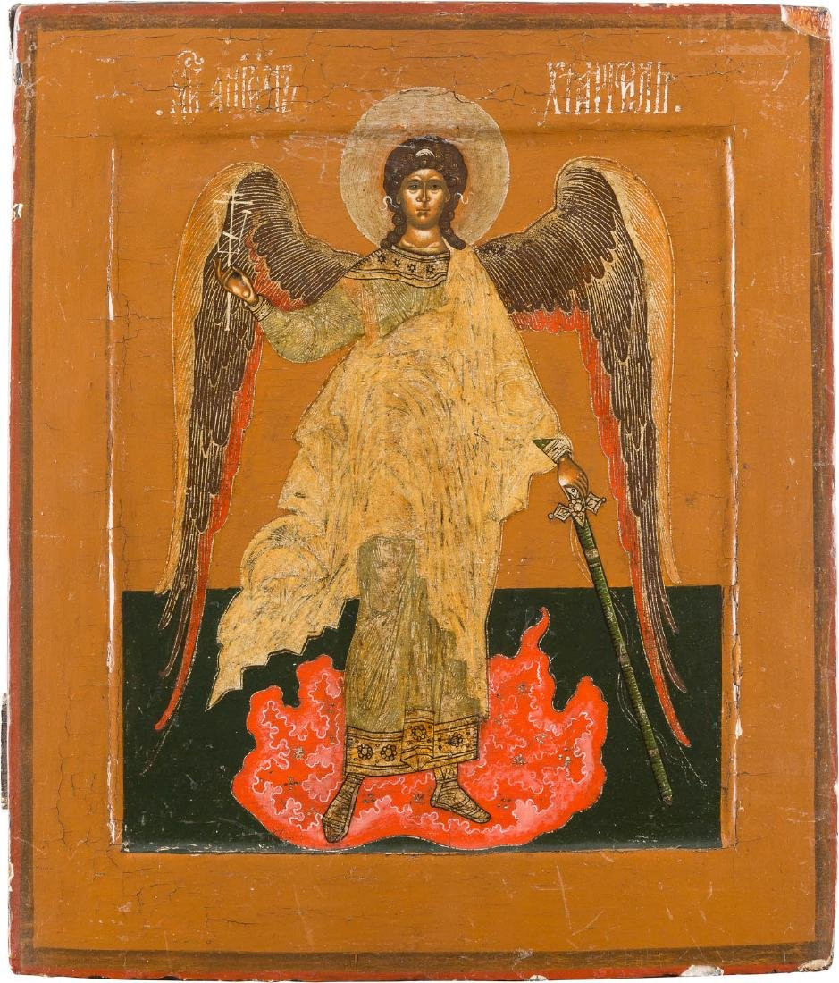 AN ICON SHOWING THE GUARDIAN ANGEL Russian, ca. 1800.