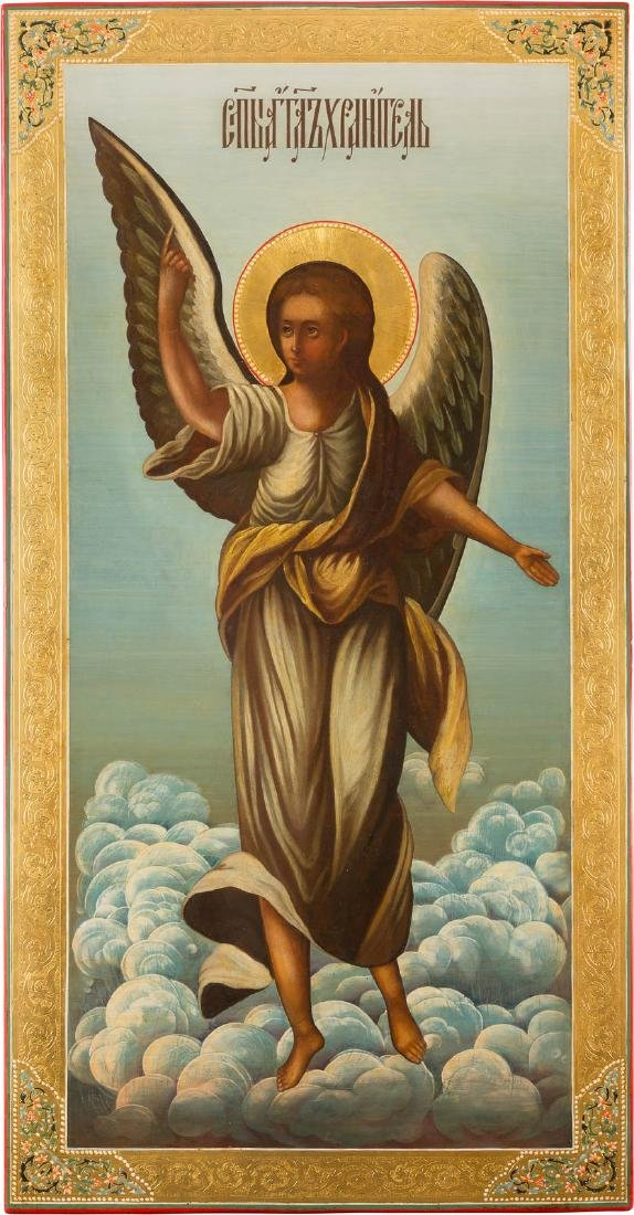 A MONUMENTAL ICON SHOWING THE GUARDIAN ANGEL Russian,