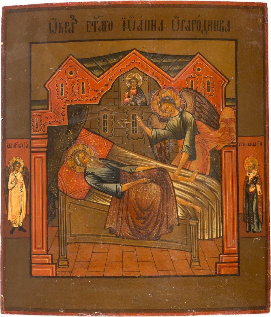 A RARE ICON SHOWING ST. JOHN OGORODNIK Russian, 19th