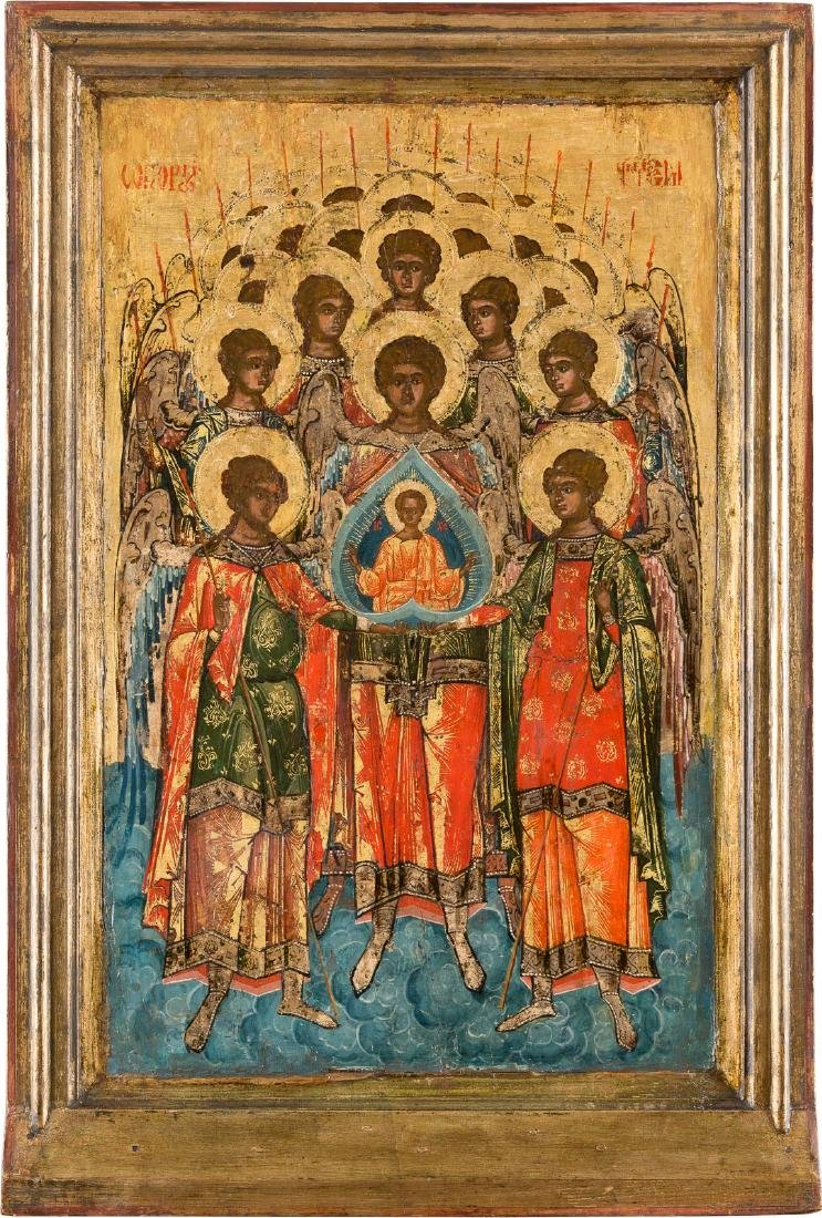 A LARGE ICON SHOWING THE SYNAXIS OF THE ARCHANGELS