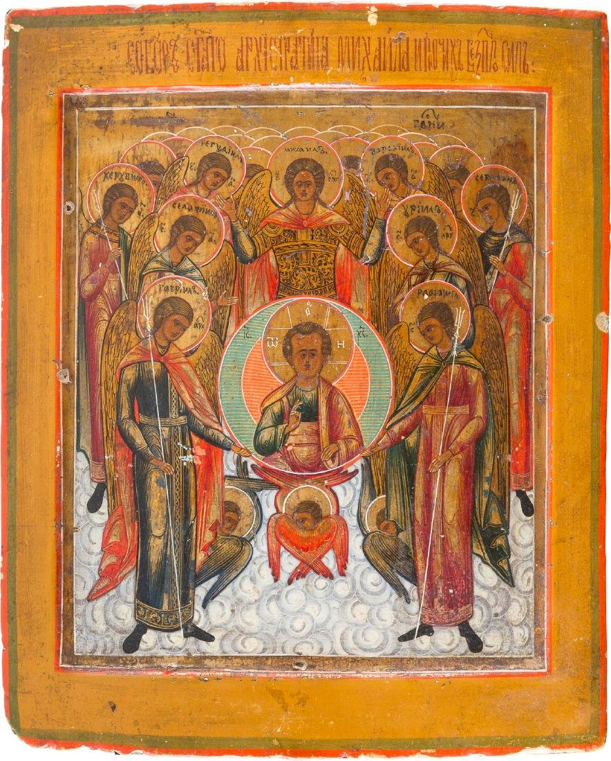 AN ICON SHOWING THE SYNAXIS OF THE ARCHANGELS Russian,