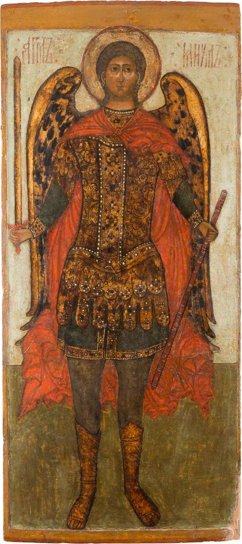 A MONUMENTAL ICON SHOWING THE ARCHANGEL MICHAEL FROM A