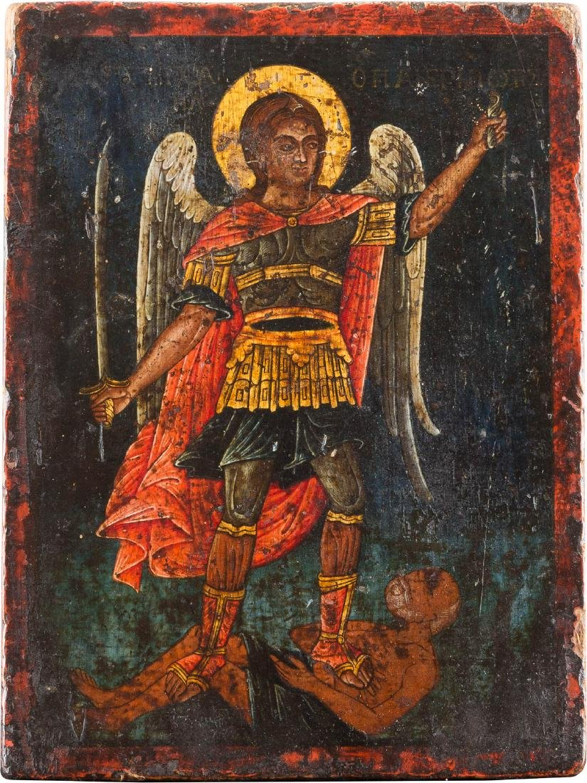 A SMALL ICON: THE ARCHANGEL MICHAEL HOLDING THE SOUL OF