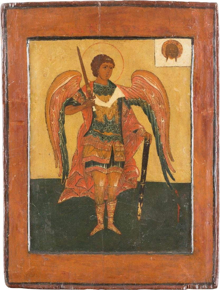 AN ICON SHOWING THE ARCHANGEL MICHAEL Russian, in the