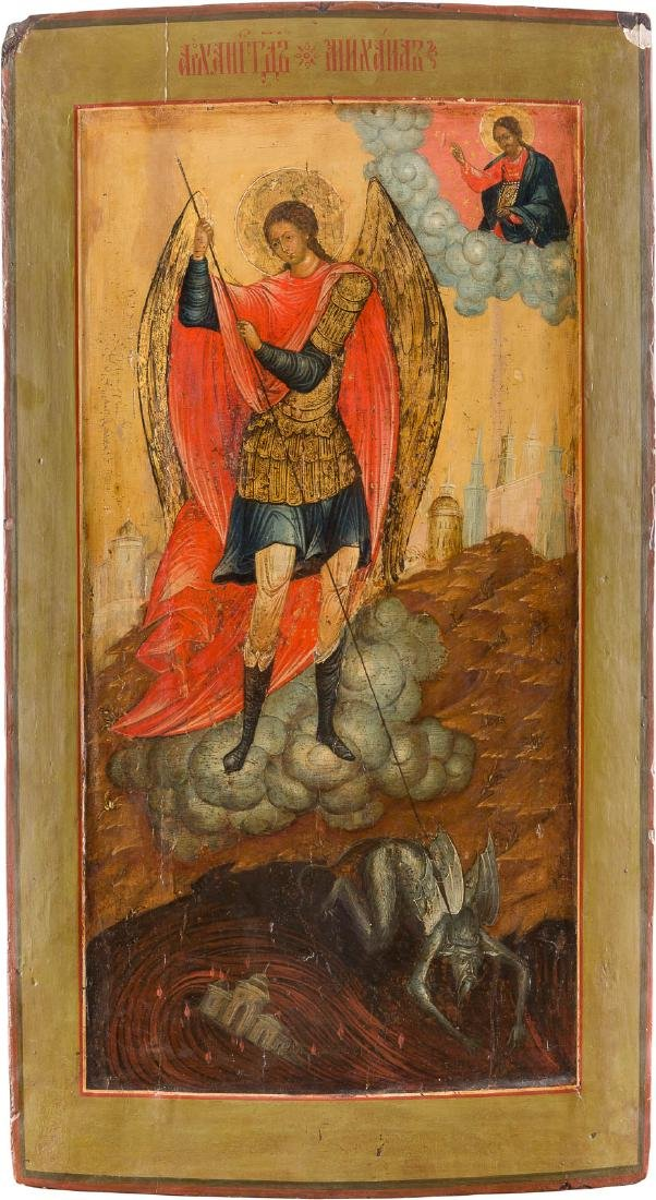 A LARGE ICON SHOWING THE ARCHANGEL MICHAEL AND HIS