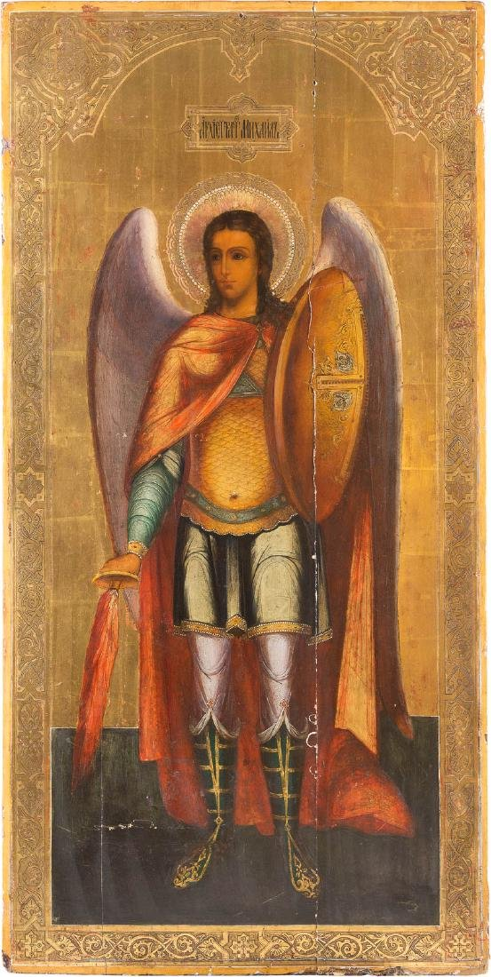 A MONUMENTAL ICON SHOWING THE ARCHANGEL MICHAEL