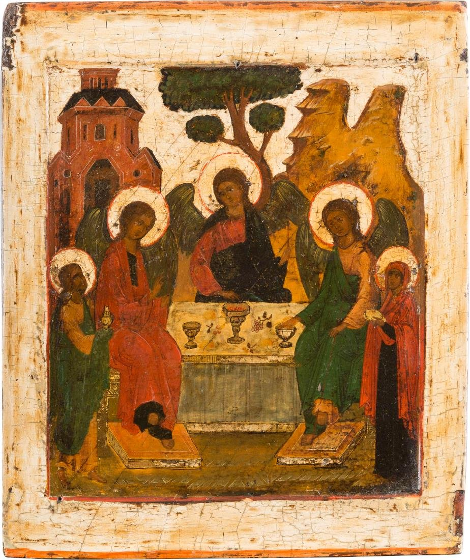 AN ICON SHOWING THE OLD TESTAMENT TRINITY Russian, 17th