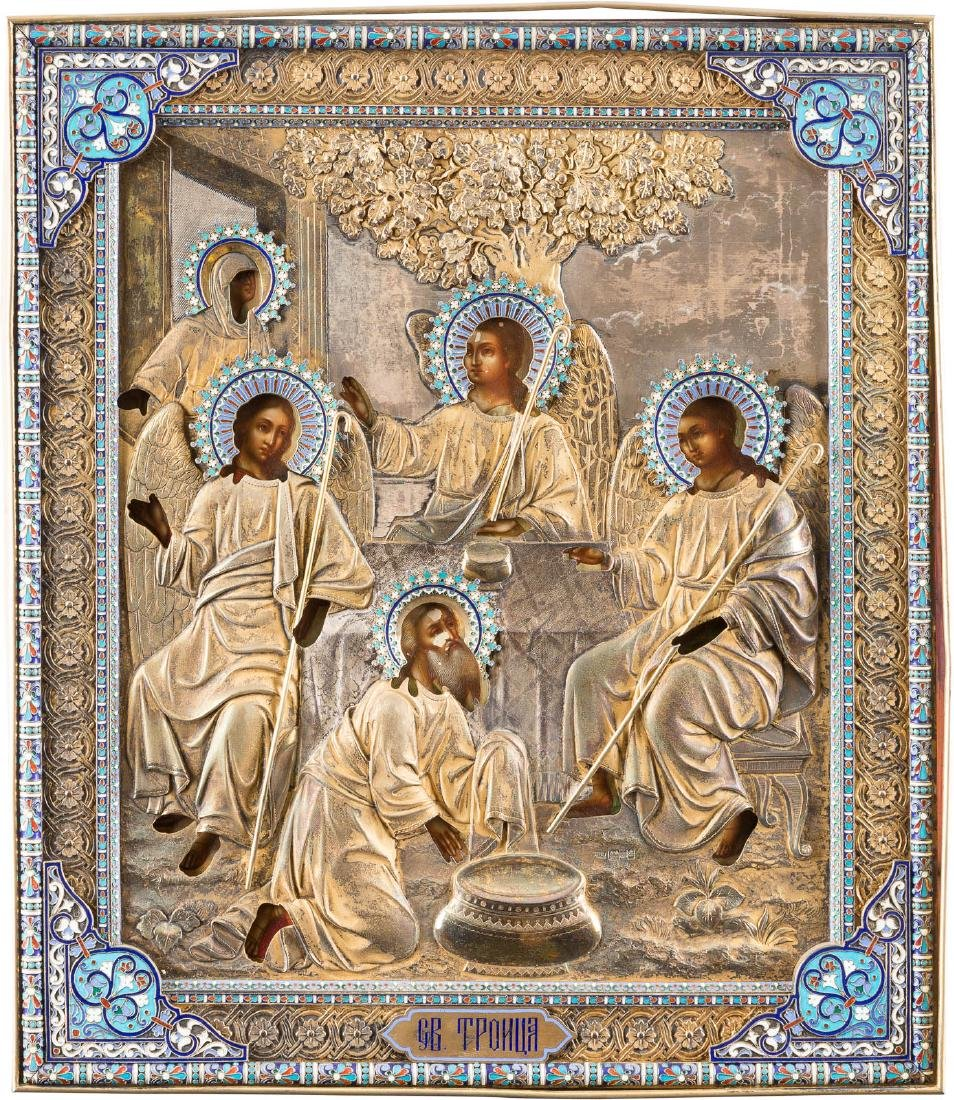 A VERY FINE ICON SHOWING THE OLD TESTAMENT TRINITY WITH