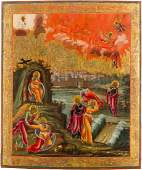 A FINE AND LARGE ICON SHOWING THE PROPHET ELIJAH, HIS