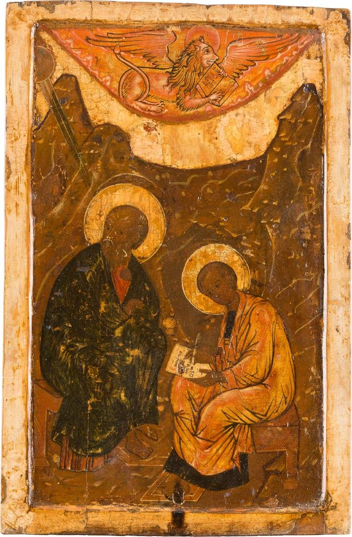 A LARGE ICON SHOWING ST. JOHN THE THEOLOGIAN FROM A