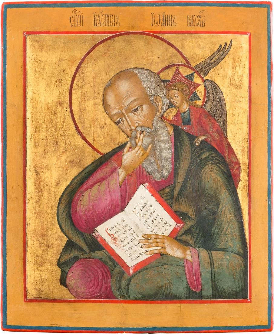 A LARGE ICON SHOWING ST. JOHN IN SILENCE Russian, 19th