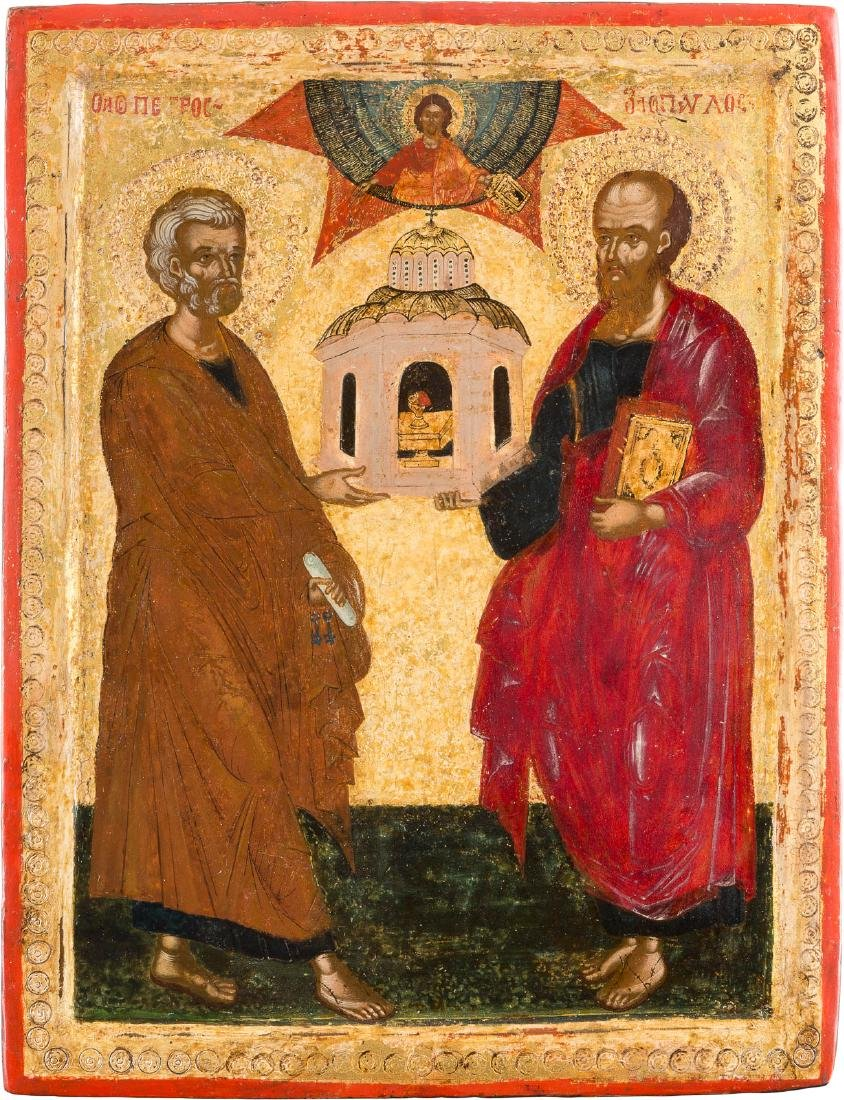 A FINE ICON SHOWING STS. PETER AND PAUL Greek, 17th