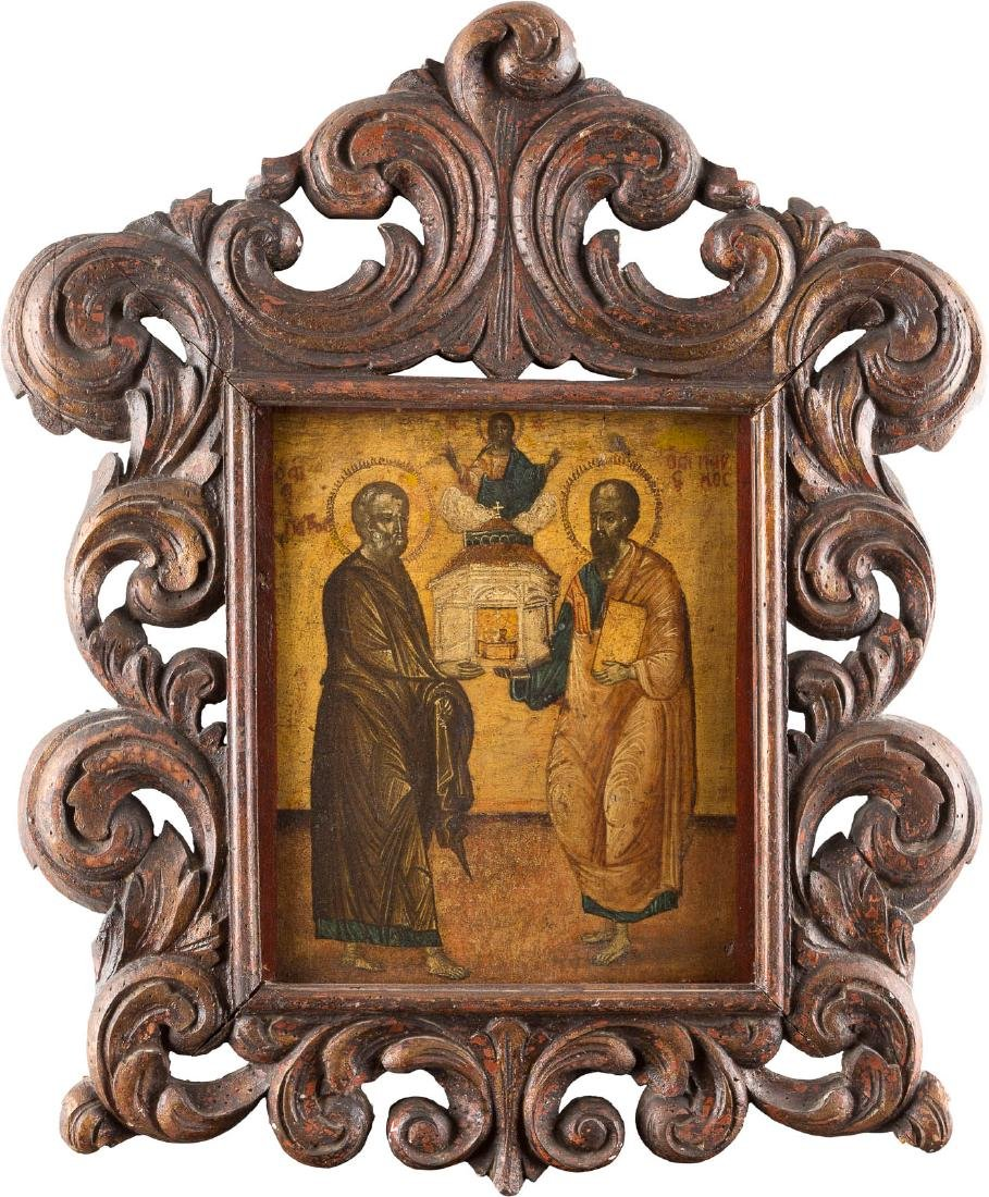 AN ICON SHOWING THE APOSTLES STS. PETER AND PAUL Greek,