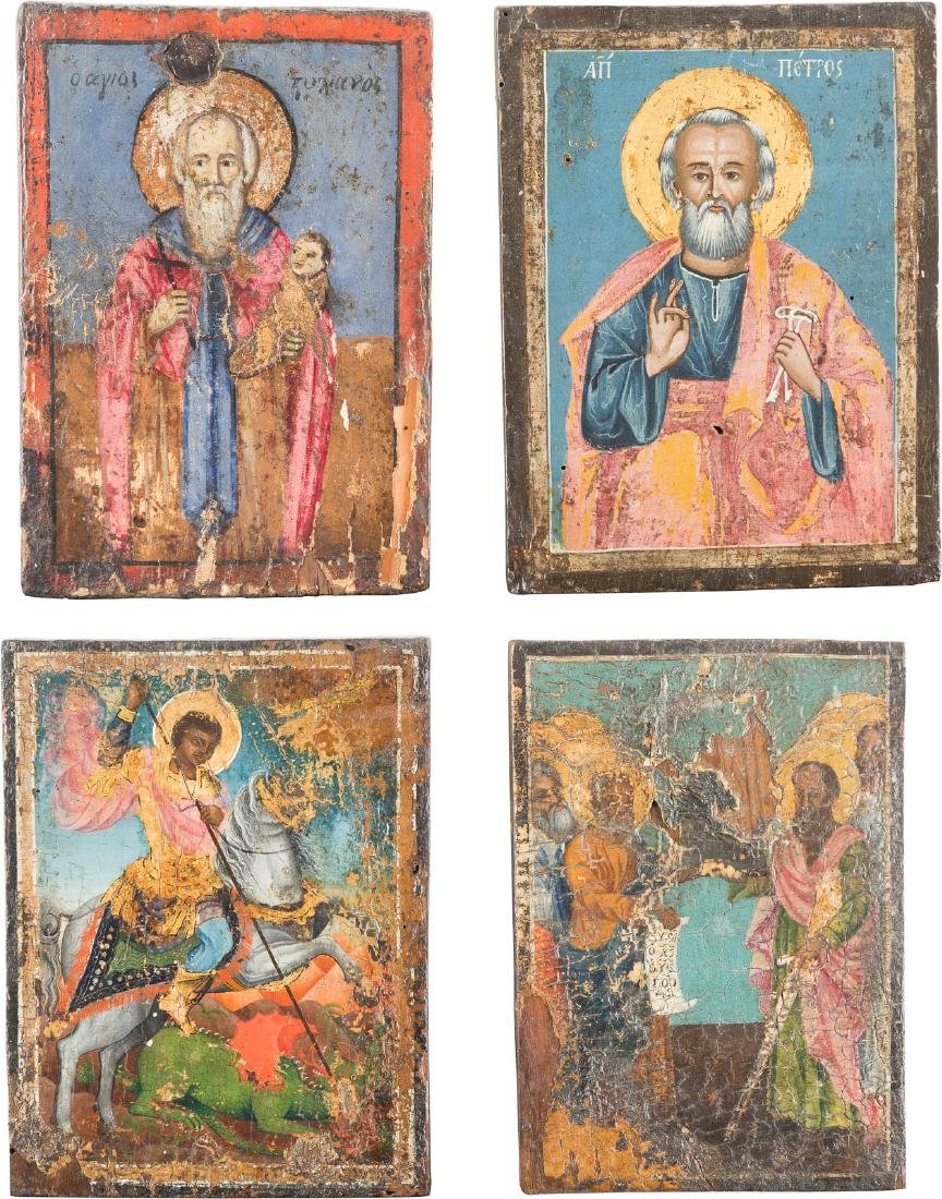 FOUR ICONS SHOWING SELECTED SAINTS Greek, 18th/19th