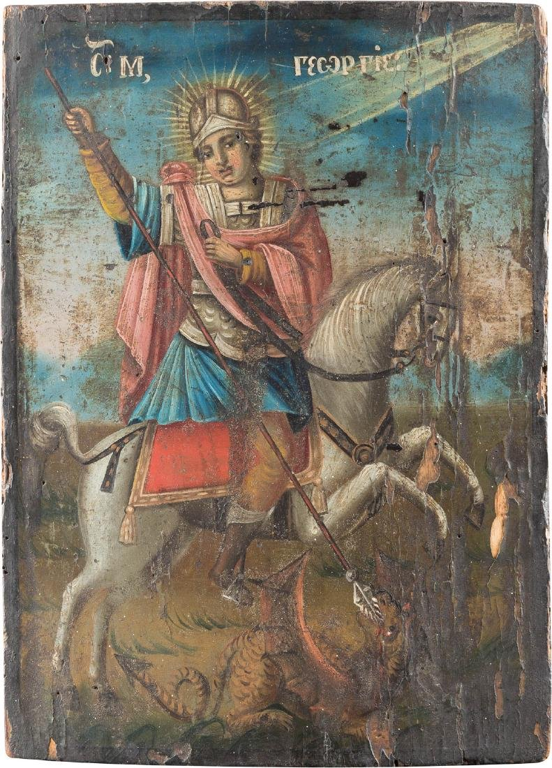 AN ICON SHOWING ST. GEORGE KILLING THE DRAGON Balkan,