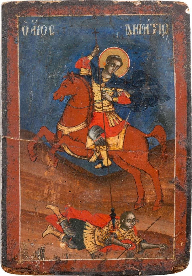 A SMALL ICON SHOWING ST. DIMITRY Greek, 18th century