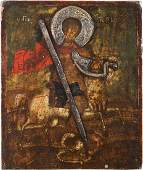 A SMALL ICON SHOWING ST GEORGE KILLING THE DRAGON