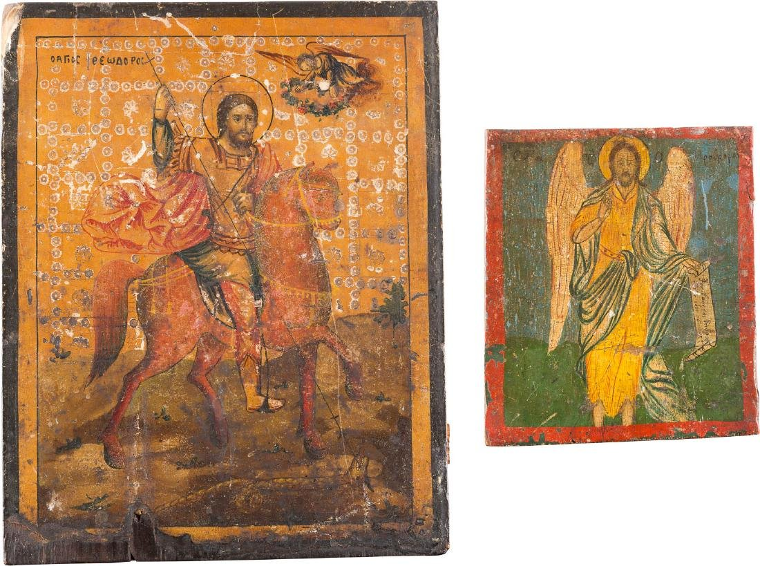 TWO ICONS: ST. THEODOR AND ST. JOHN THE BAPTIST Greek,