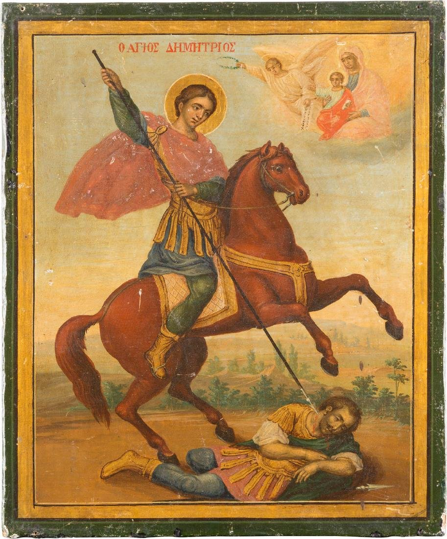 AN ICON SHOWING ST. DEMETRIOS Greek, end of the 19th