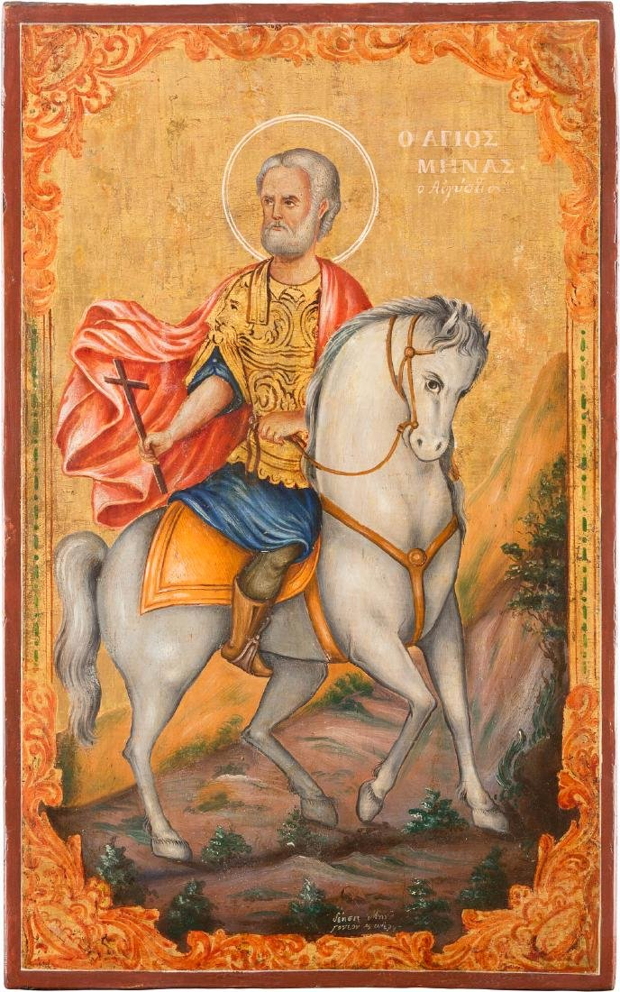 A LARGE ICON SHOWING ST. MENAS Greek, 19th century Oil