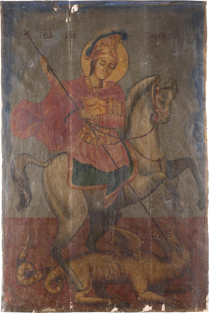 A MONUMENTAL ICON SHOWING ST. GEORGE KILLING THE DRAGON