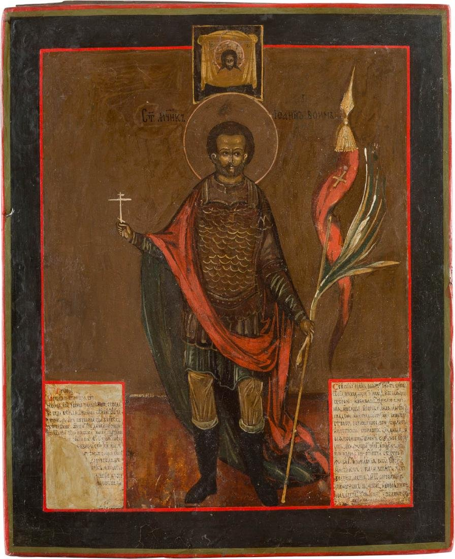 AN ICON SHOWING ST. JOHN THE WARRIOR Russian, 18th