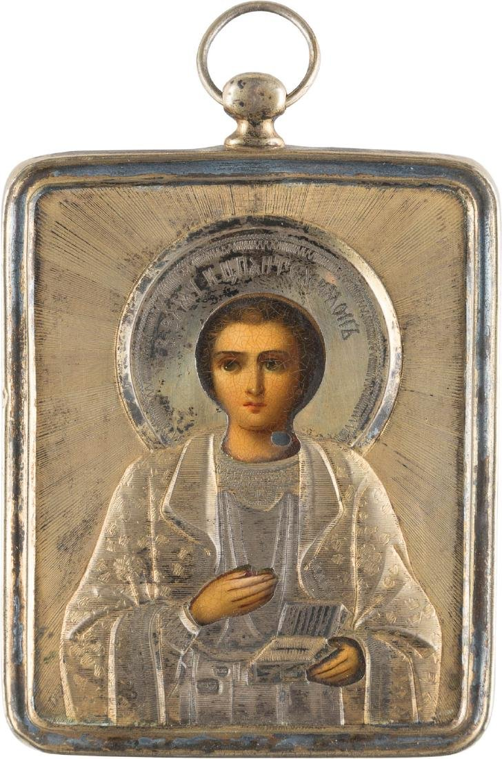 A SILVER-MOUNTED BREAST ICON SHOWING ST. PANTELEIMON
