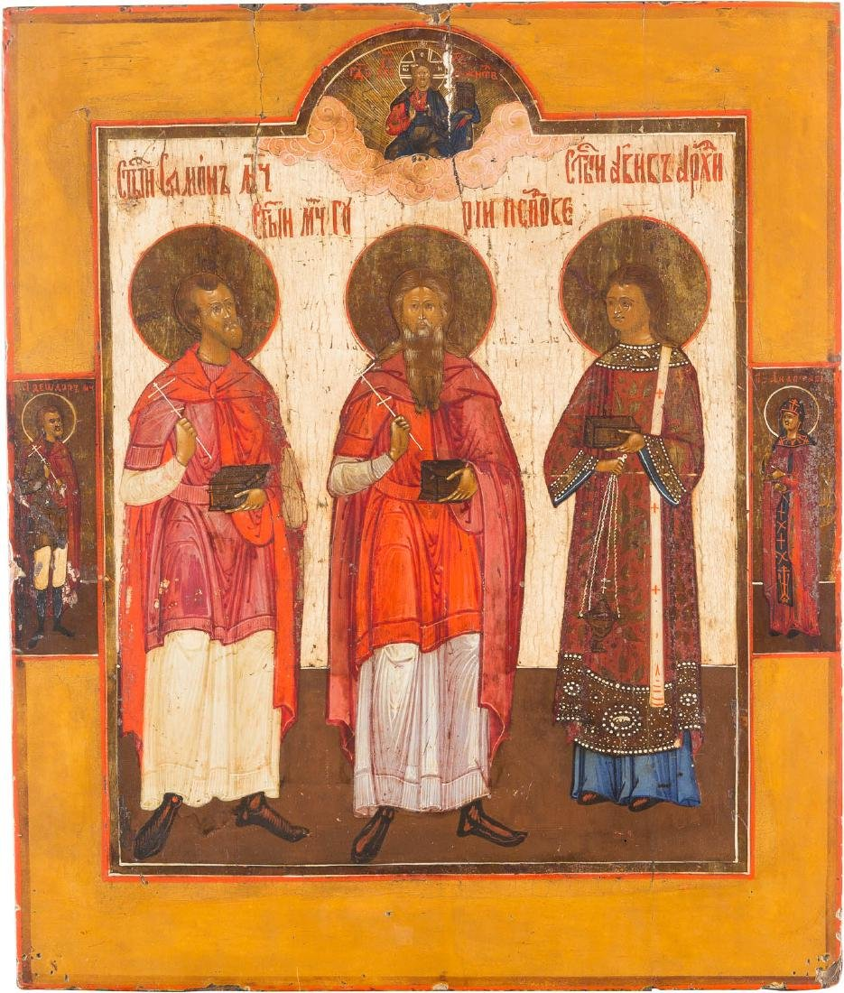 A LARGE ICON OF STS. SAMON, GURI AND AVIV Russian, 18th