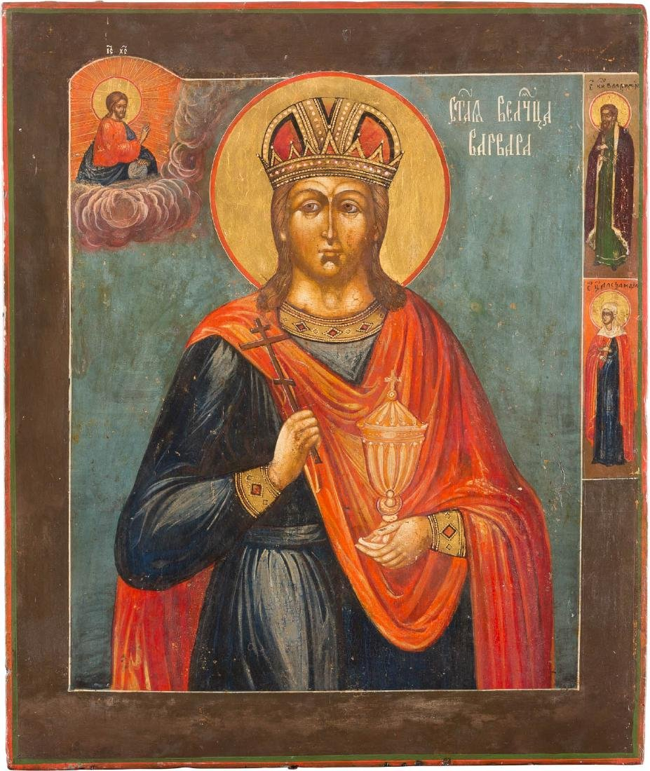 A LARGE ICON SHOWING ST. BARBARA Russian, 19th century
