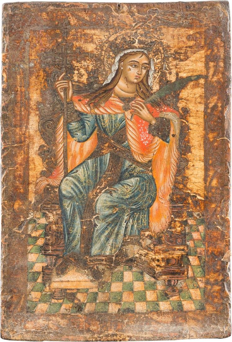 A SMALL ICON SHOWING THE MARTYR SAINT CATHERINE Greek,